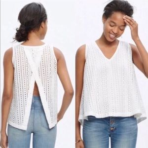 Madewell White Eyelet Open Back Top